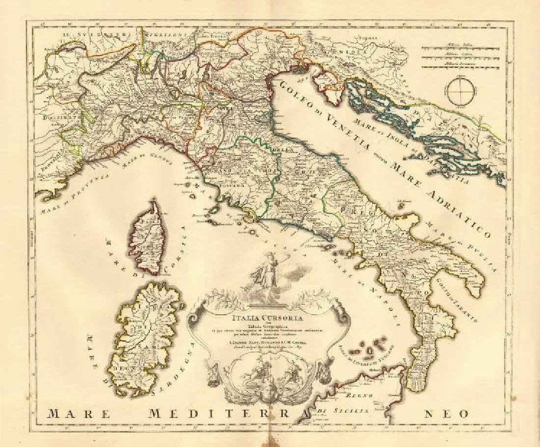 Homann: Antique Map of Italy, 1720