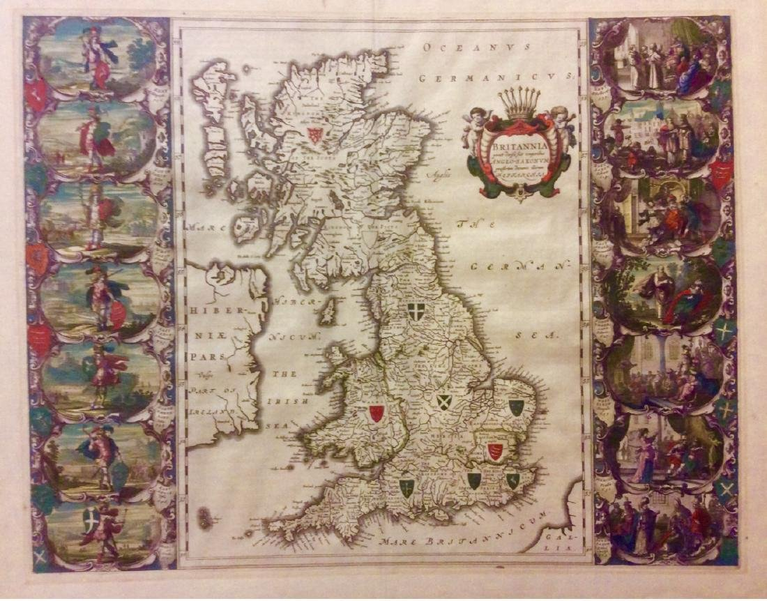 Blaeu: Antique Map of Anglo Saxon Britain, 1645