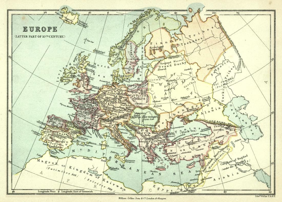 Weller: Antique Map of Europe, 1877