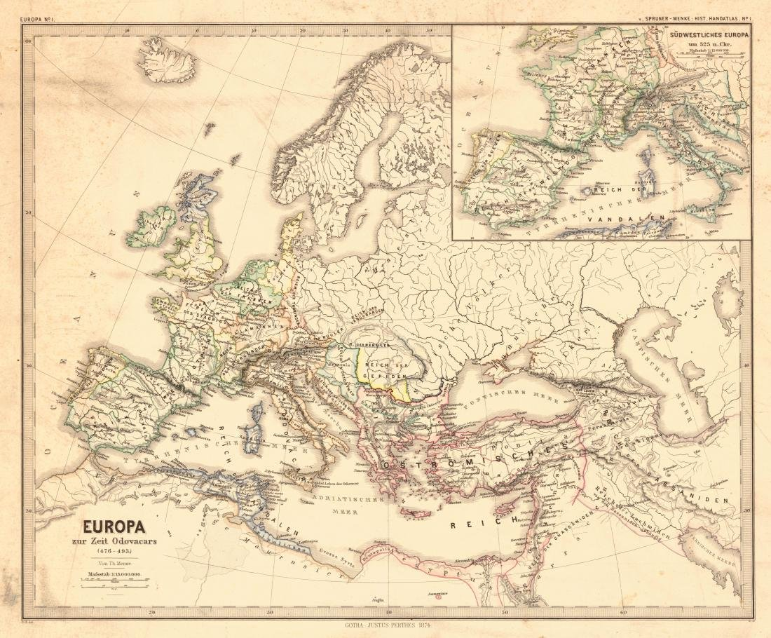 Menke: Antique Map of Europe at time of Odovacars