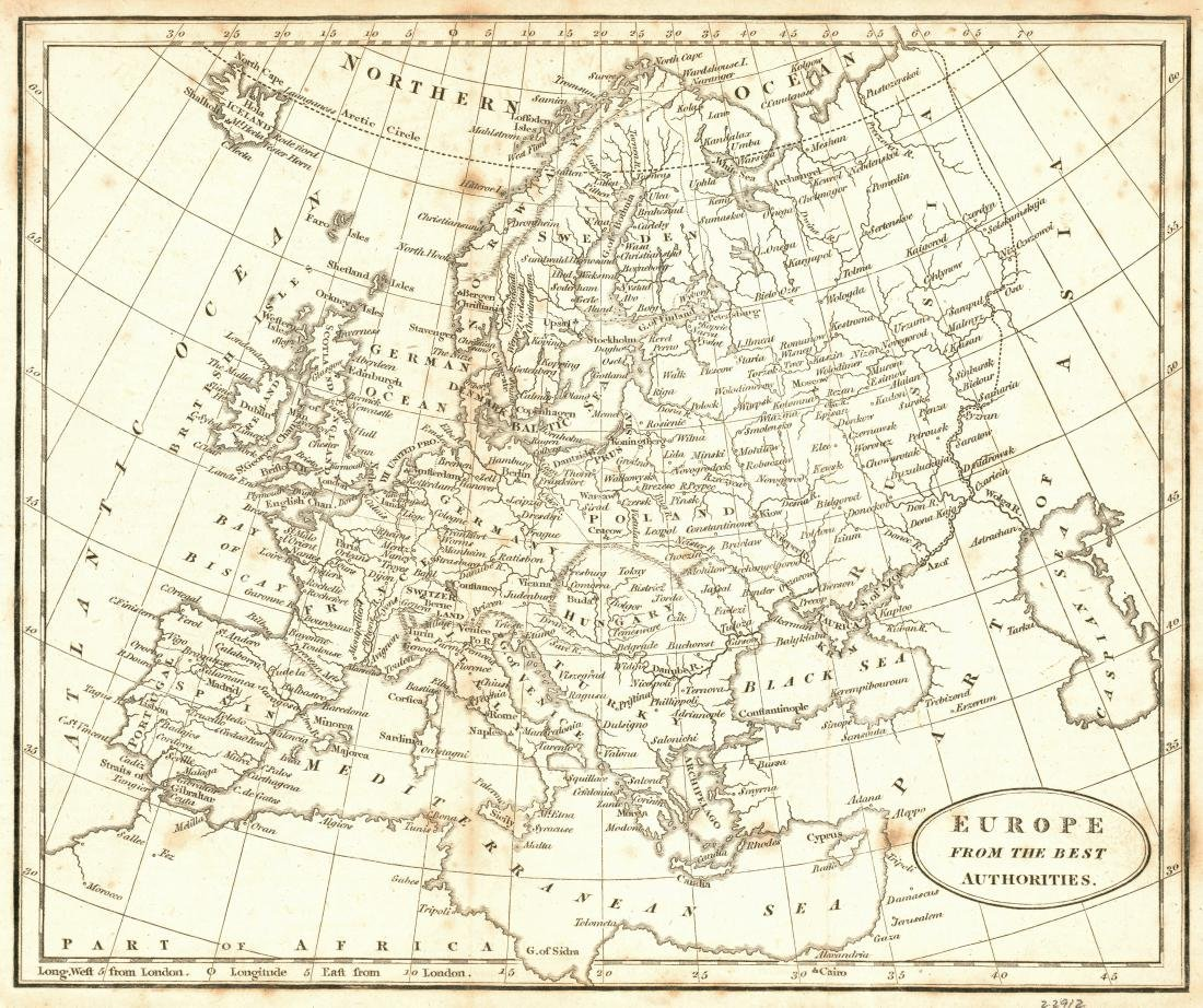 Antique Map of Europe from the Best Authorities, 1816