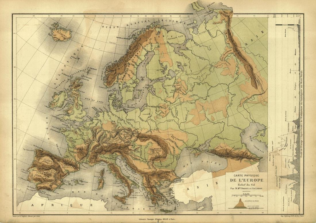 Drioux: Antique Map of Europe, 1878