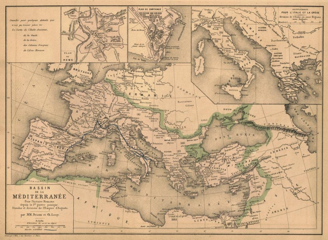 Drioux: Antique Map of Mediterranean Coasts, 1878