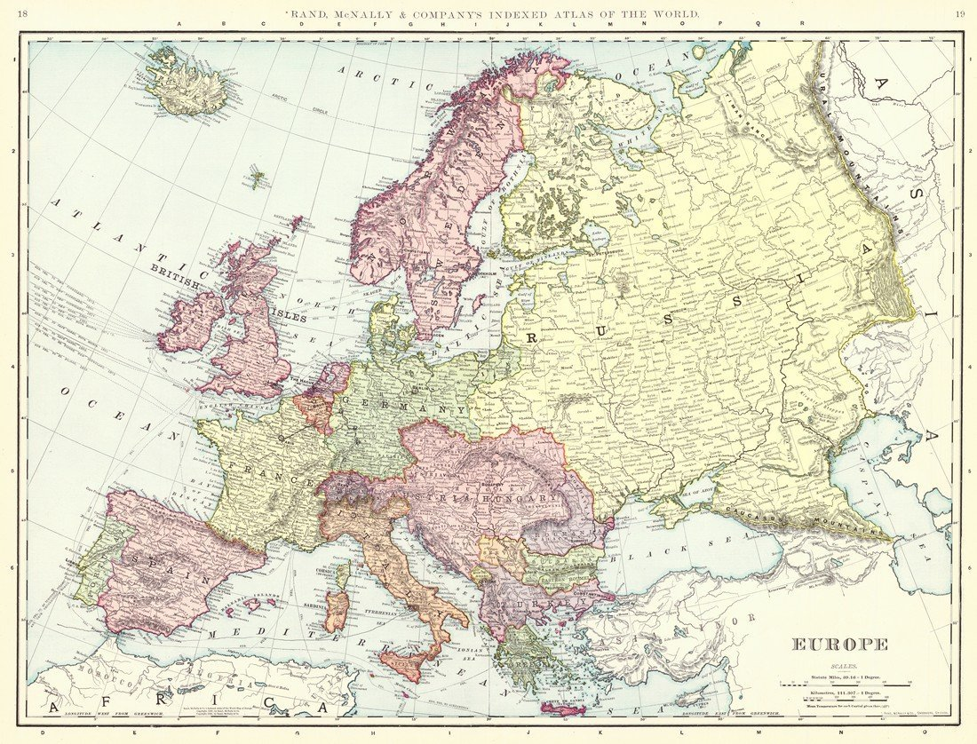 Rand McNally: Antique Map of Europe, 1898