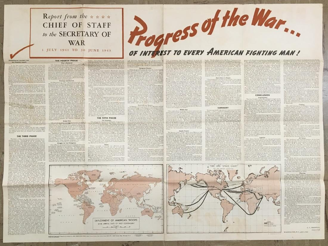Vintage WWII News Map of the Russian Front, 1943 - 2