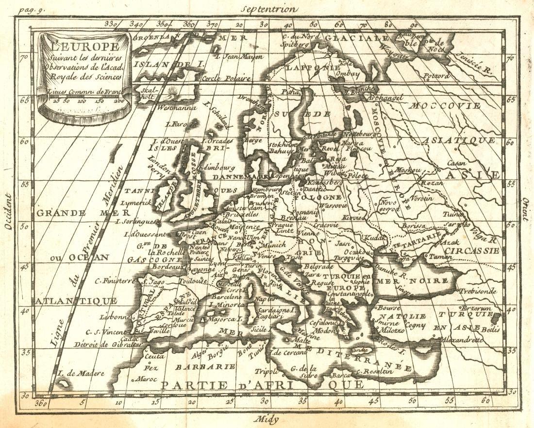 Desbruslins: Antique Map of Europe, 1744