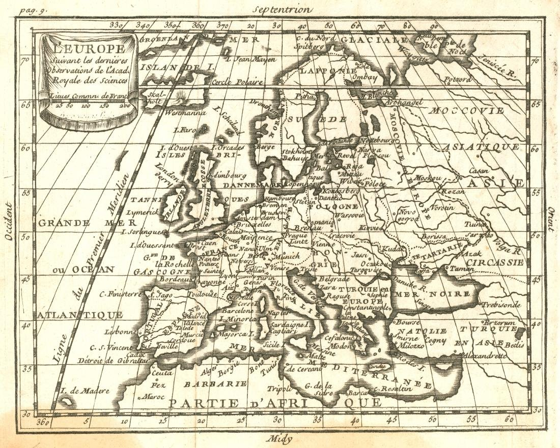 Desbruslins: Antique Map of Europe, 1744
