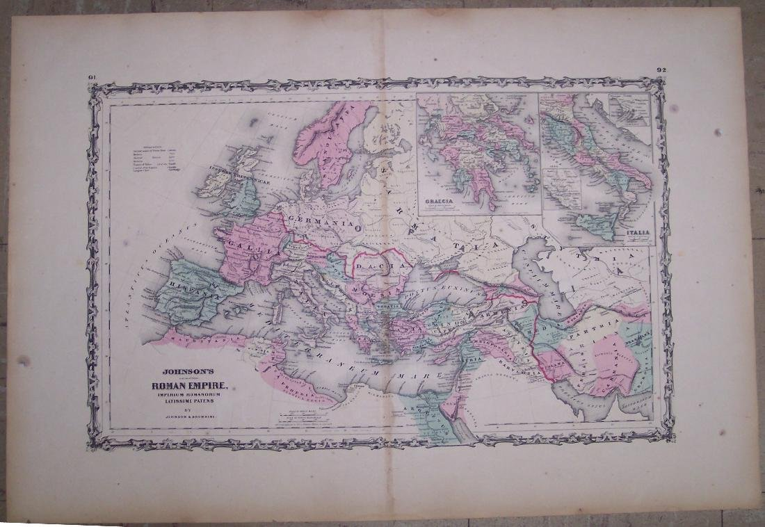 Johnson: Antique Map of Roman Empire, 1861