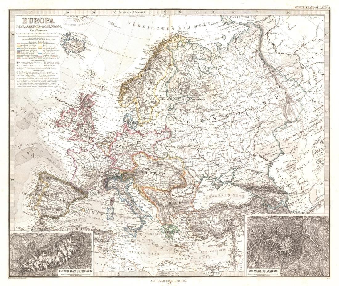 Stieler / Petermann: Antique Map of Europe, 1870