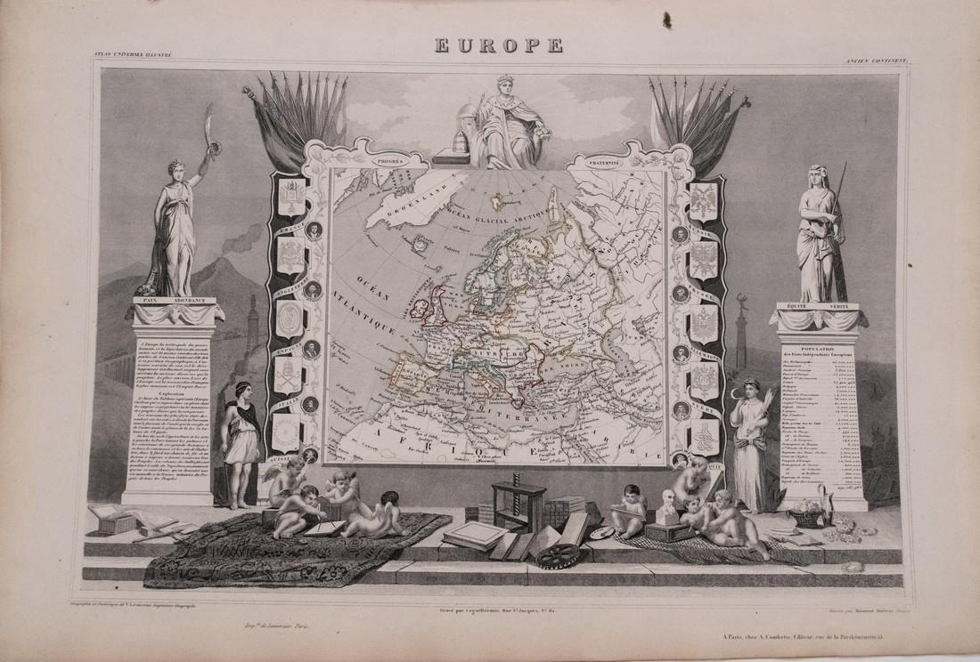Levasseur: Antique Map of Europe, 1852