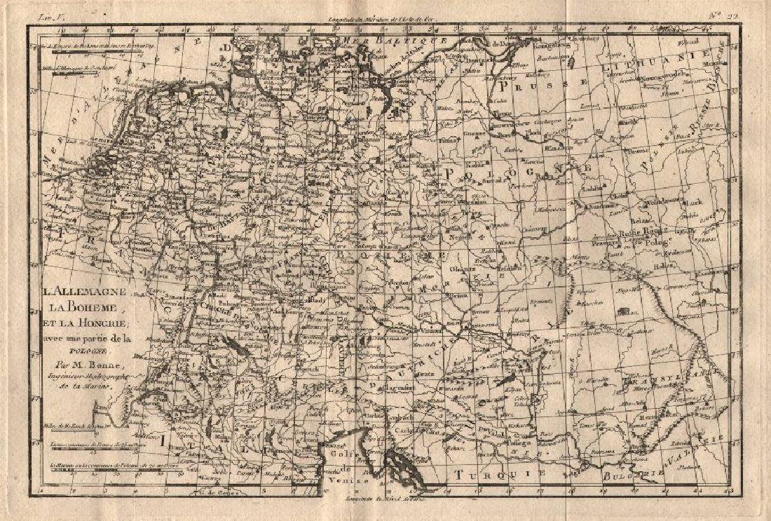 Bonne: Antique Map of Central Europe, 1780