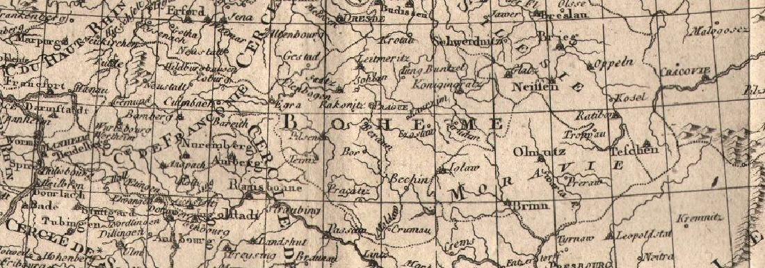 Bonne: Antique Map of Central Europe, 1780 - 2