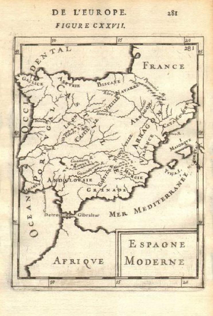 Mallet: Antique Map of Iberia, Spain & Portugal, 1683