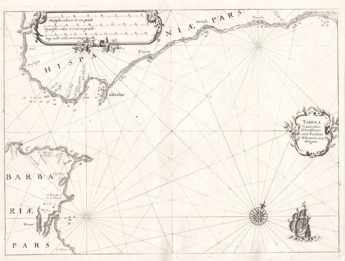 Merian: Antique Chart of the Strait of Gibraltar, 1638