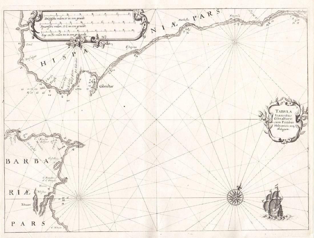 Merian: Antique Chart of the Strait of Gibraltar, 1638