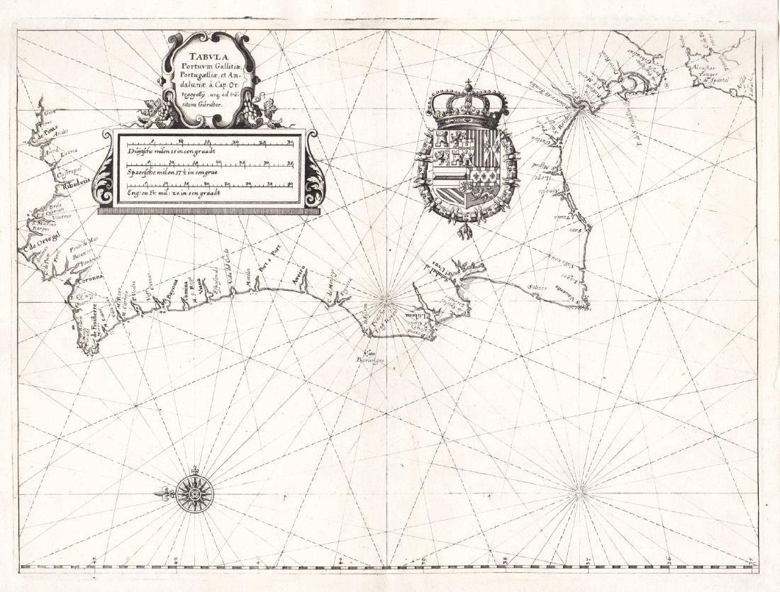 Merian: Antique Coastal Chart of Western Iberia, 1638