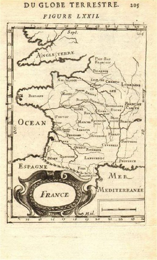 Map Of France With Regions.Mallet Antique Map Of France In Regions 1683