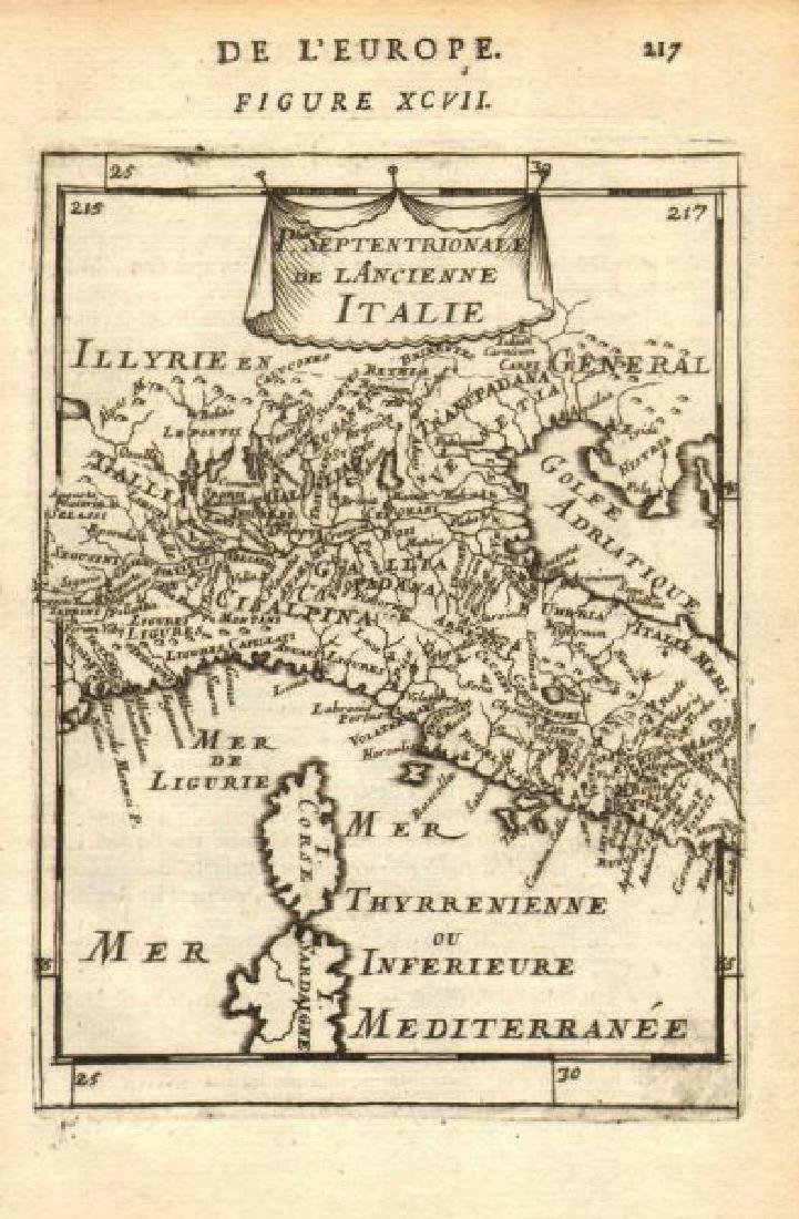 Mallet: Antique Map of Ancient Northern Italy, 1683