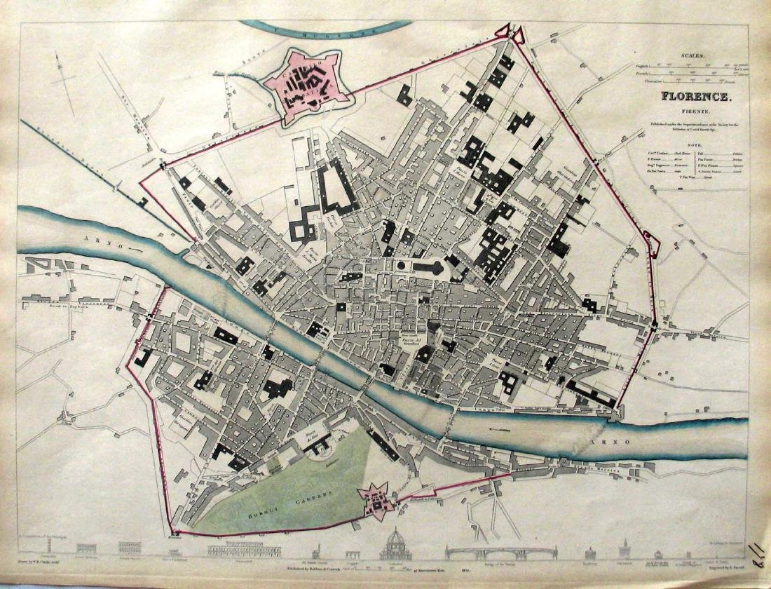 SDUK: Antique Map of Florence, Italy, 1835