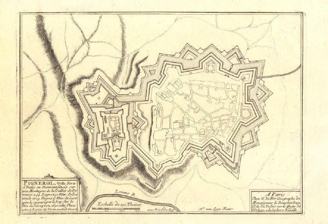 de Fer: Antique Map of Pinerolo, Italy, 1705