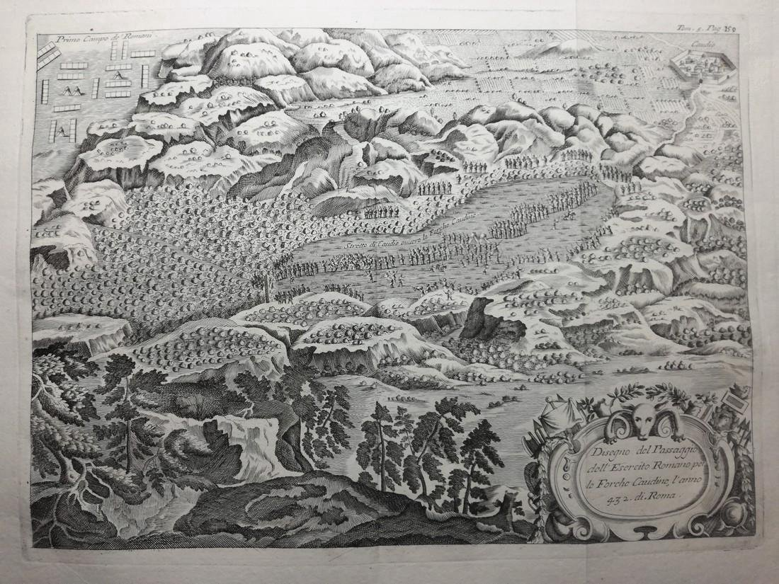 Antique Map of Roman Army, Forche Caudine, 16th-17th C