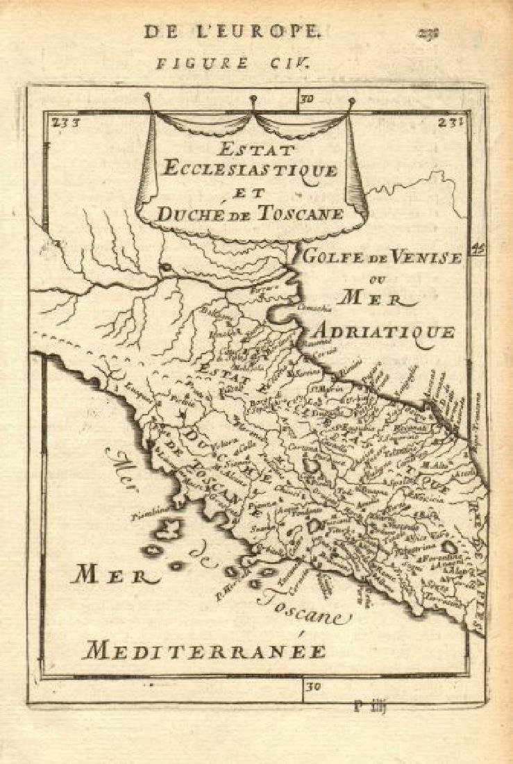 Mallet: Antique Map of Central Italy, Papal States 1683