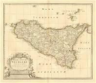 Homann: Antique Map of Sicily Kingdom/Islands, 1747