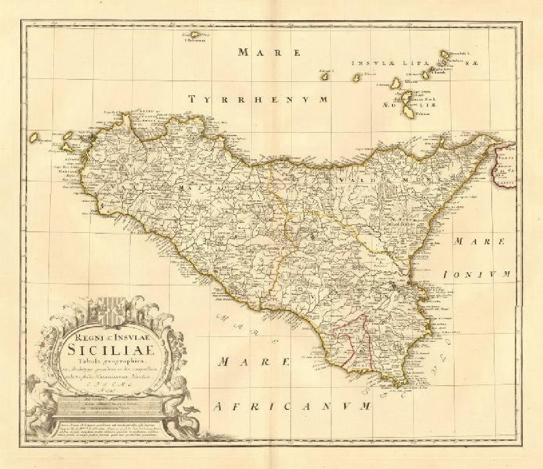 Homann: Antique Map of Sicily Kingdom/Islands, 1747