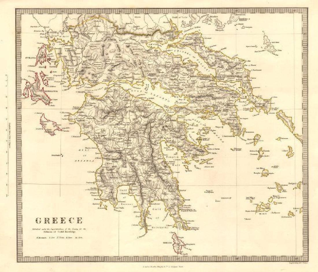 SDUK: Antique Map of Greece, Ionian Islands, 1845