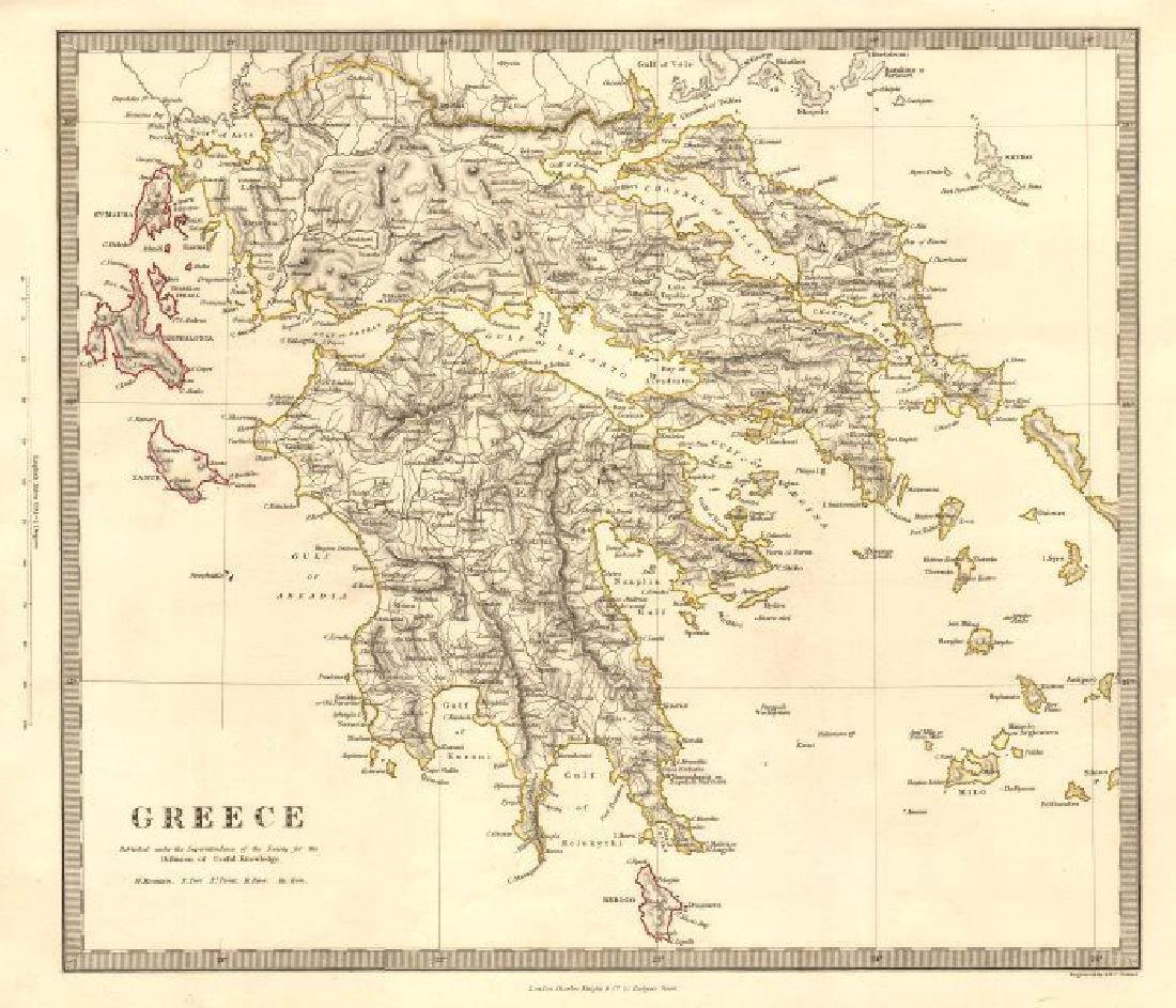 SDUK: Antique Map of Greece, Ionian Islands, 1845