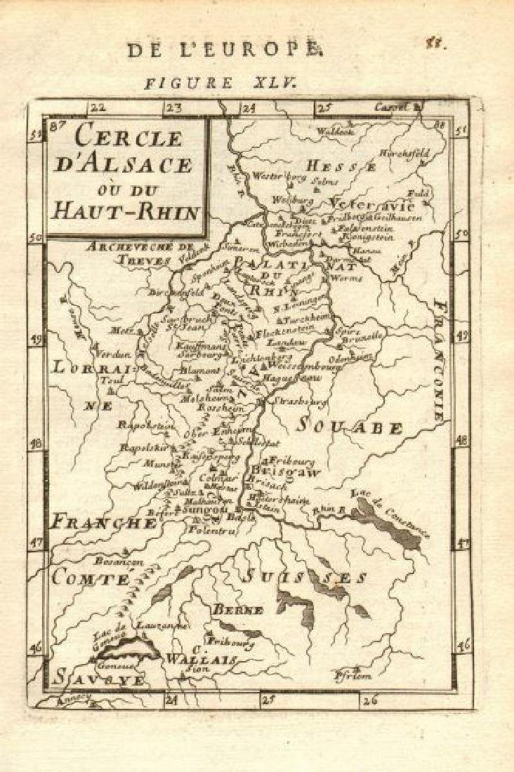 Mallet: Antique Map of Alsace / Rhine Valley, 1683