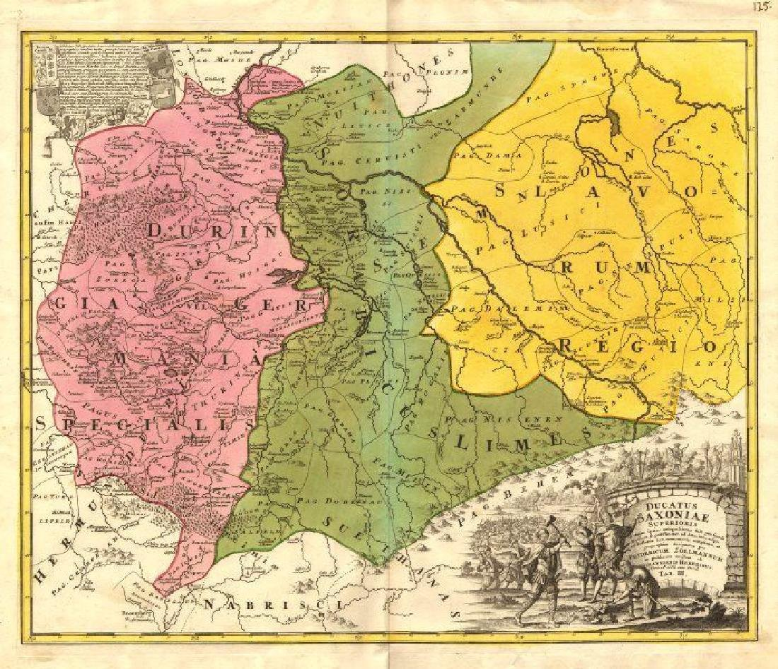 Zollmann / Homann: Antique Map of Ancient Saxony, 1735