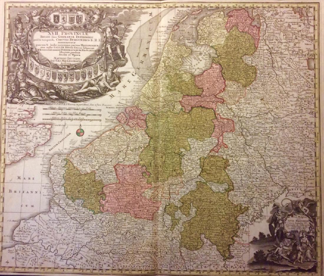 Seutter: Antique Map of Belgium & Netherlands, 1740