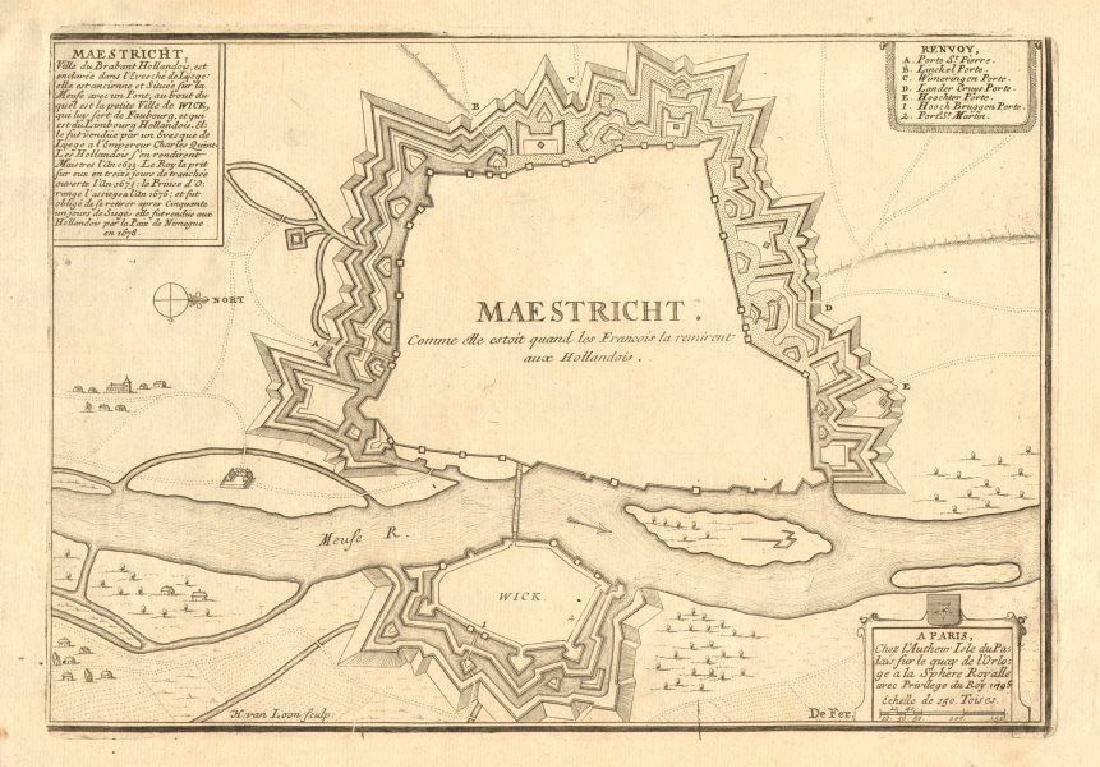 de Fer: Antique Map of Maestricht, Netherlands, 1705