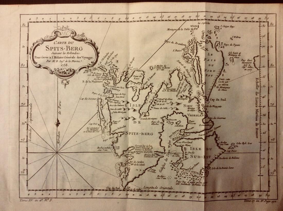 Bellin: Antique Map of Spitsbergen Islands Norway, 1740