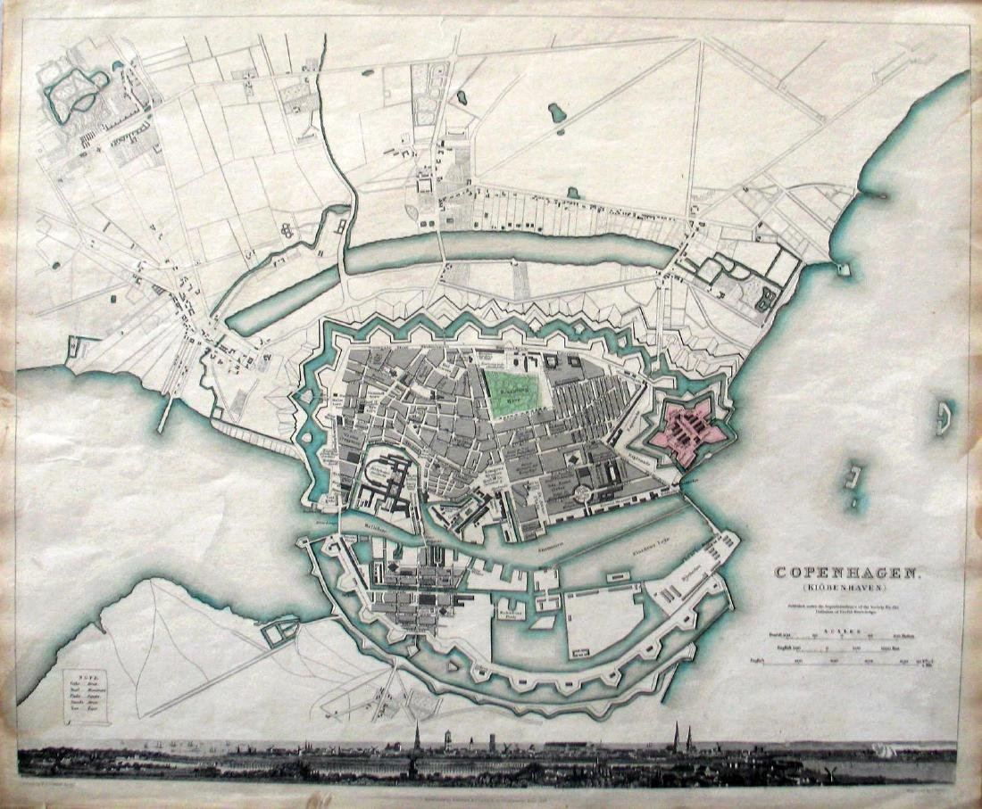 SDUK: Antique Map of Copenhagen, Denmark, 1837