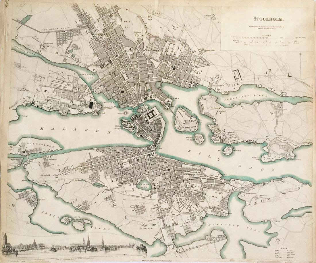 SDUK: Antique Map of Stockholm, Sweden, 1836