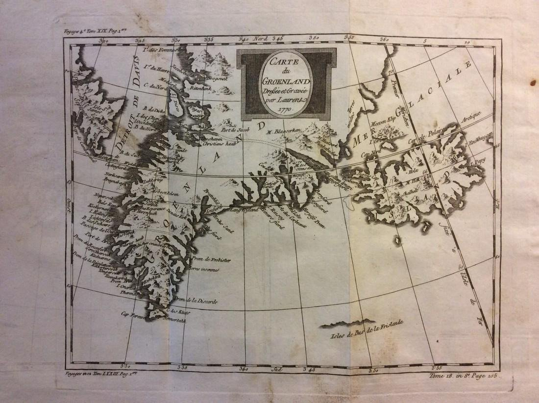 Bellin: Antique Map of Iceland and Greenland, 1740