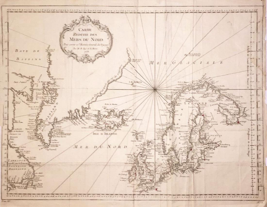 Bellin: Chart of the North Seas/Greenland/Scandinavia