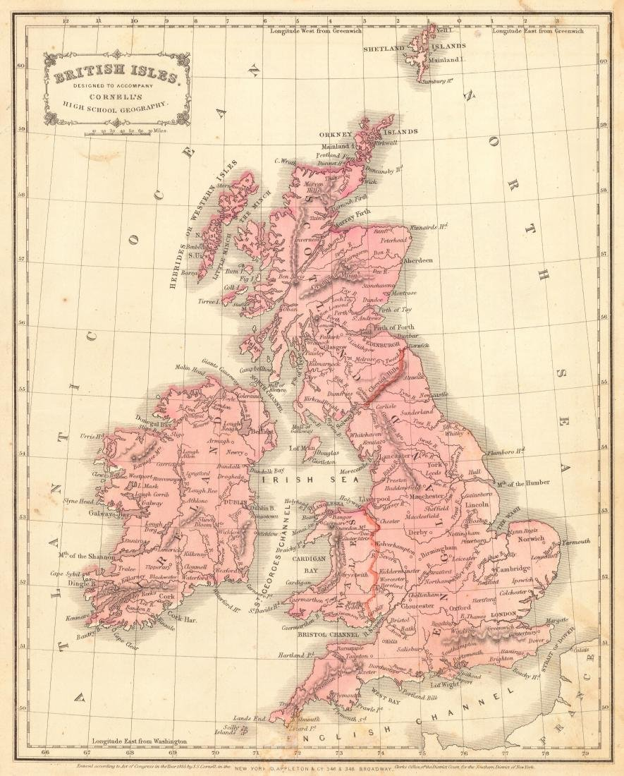 Cornell: Antique Map of the British Isles, 1856