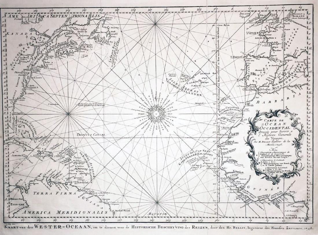 Bellin/vander Schley: Antique North Atlantic Chart 1746