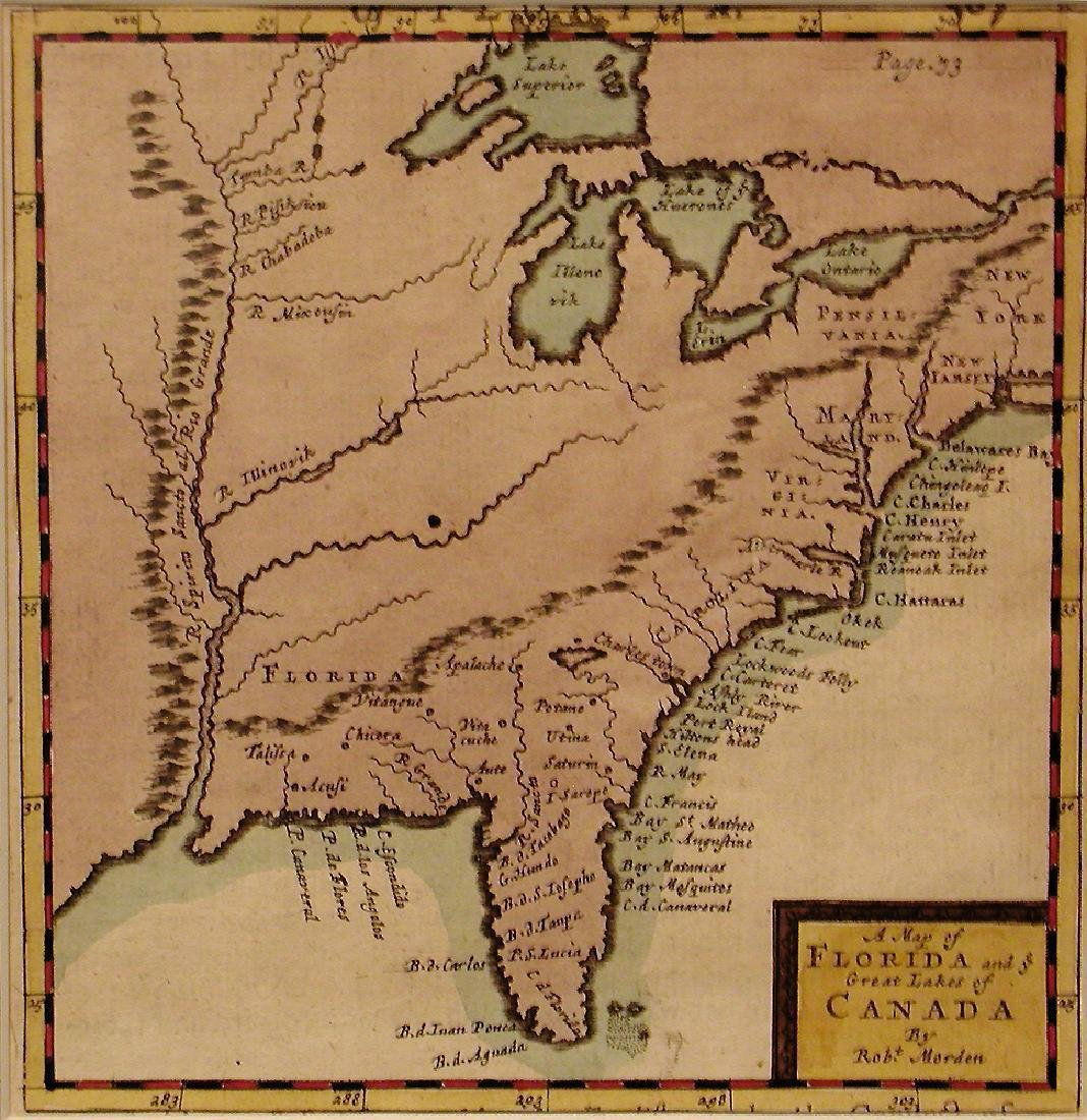 Morden: Antique Map of Florida & the Great Lakes, 1693