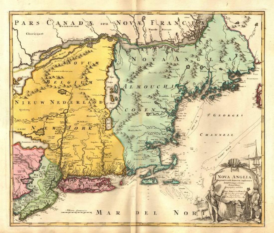 Homann: Antique Map of New England, 1720