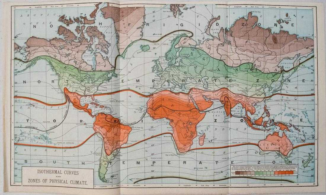 1890 World Map.Antique World Climate Map 1890