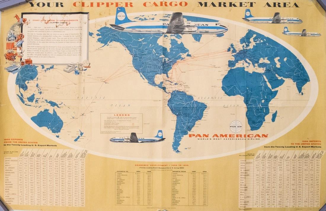 PanAM: Vintage Pictorial World Map, 1957