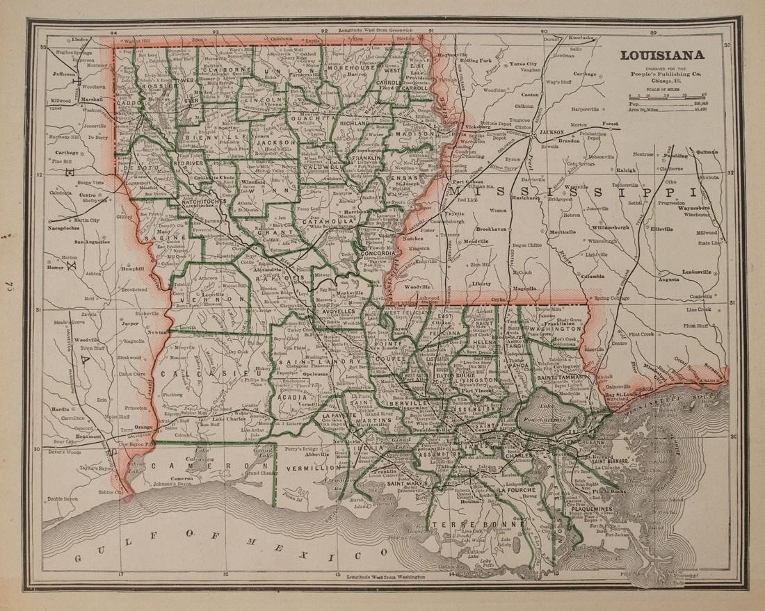 Cram: Antique Map of Louisiana and Mississippi, 1886