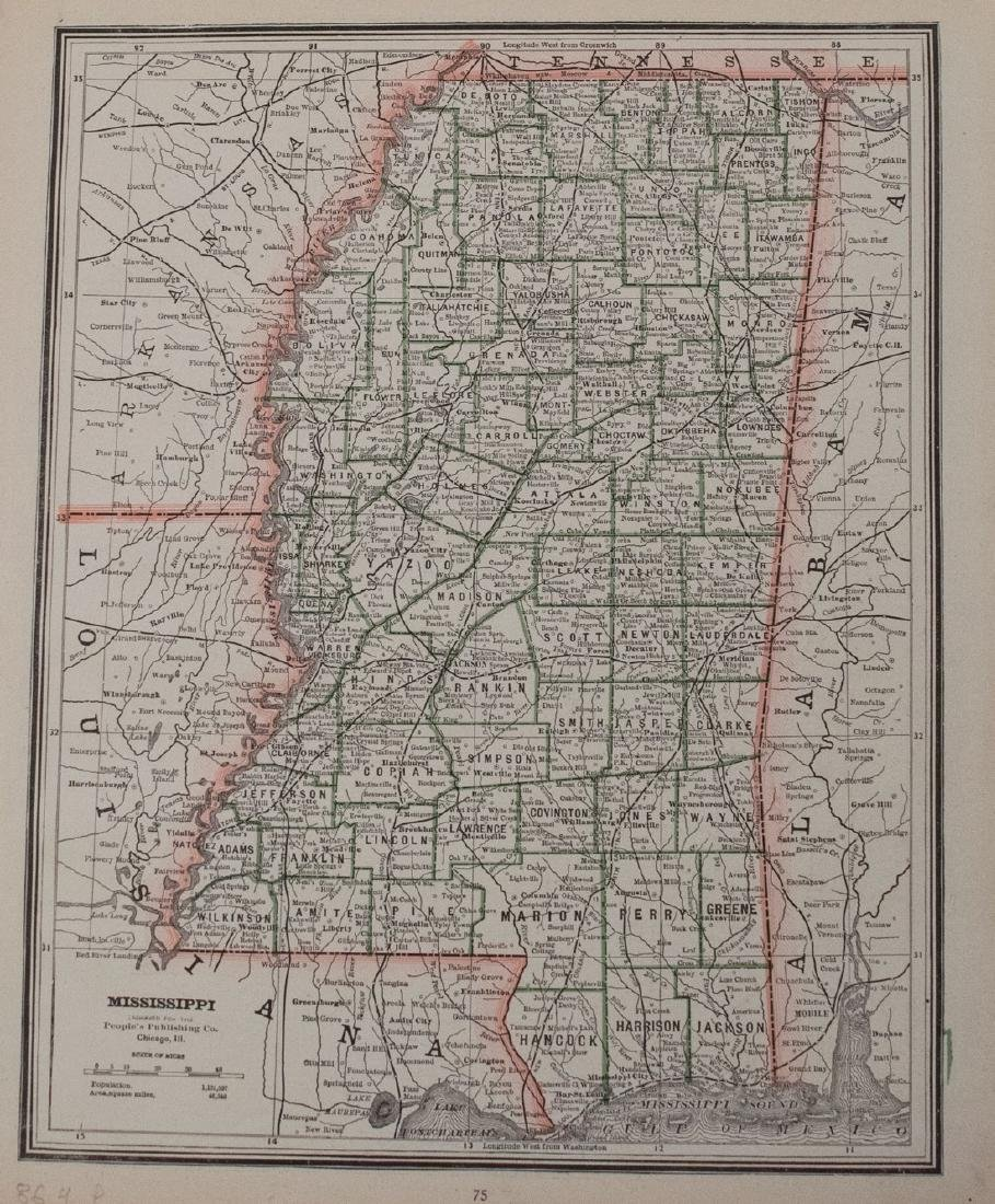 Cram: Antique Map of Louisiana and Mississippi, 1886 - 2