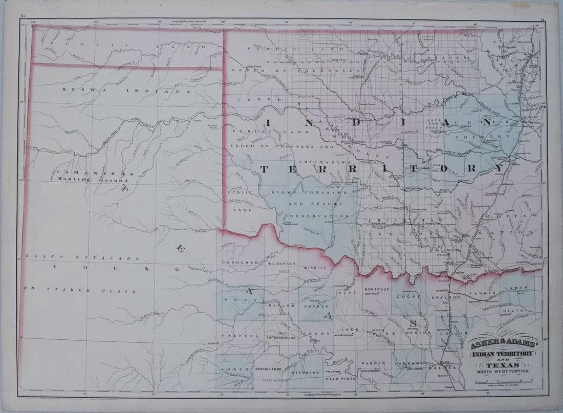 Asher & Adams: Antique Map of Indian Territory, 1874