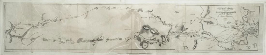 Antique Survey Map of Earliest American Railroad Plan