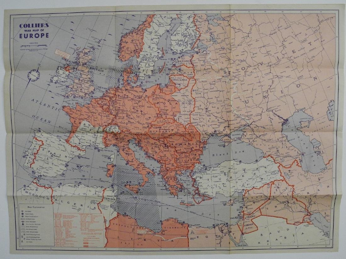 Vintage WWII Colliers War Map of Europe, 1942 - 2